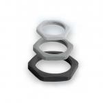 สีเทา ล็อกนัท เกลียว M / PG & Metric type Poliamide Nut