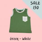 เสื้อกล้ามสำหรับเด็ก สีเขียว เนื้อผ้าคอตตอน 100%