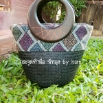 กระเป๋าทรงแตงโม คาดผ้าไทย