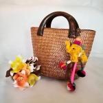กระเป๋าถือ ทรงแตงโม สีธรรมชาติ